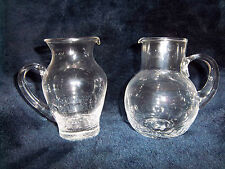 Two Crystal Clear Glass PITCHERS Cream Syrup Decanters Crackled Glass Bottom
