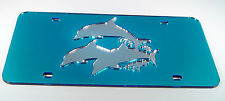DOPHIN DOLPHINS OCEAN NAUTICAL  MIRRORED CHROME LASER CUT LICENSE PLATE INLAID