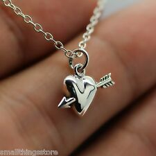 HEART AND ARROW NECKLACE - 925 Sterling Silver Archery Charm Pendant Jewelry NEW
