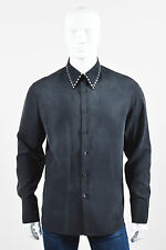 MENS Gianni Versace Charcoal Gray Silk Studded LS Button Down Shirt SZ 50