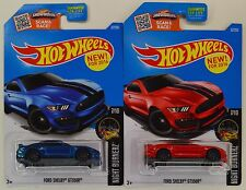 "2016 Hot Wheels: '16 Ford MUSTANG SHELBY GT 350R ""Blue & Red"" 1st Ed - 2 Car LOT"