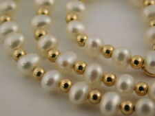 "FRESH WATER PEARL 14K GOLD BALL BEAD NECKLACE 18"" SIGNED CI SIMPLE ELEGANT SWEET"