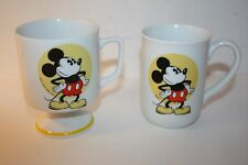 """2 VINTAGE DISNEY MICKEY MOUSE """" STEAMBOAT WILLY """" CERAMIC MUGS JAPAN EUC"""