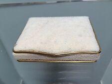 Vtg White Beaded Brass Trim Jewelry Presentation Box Made in France 3.75x3x0.75