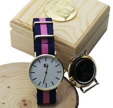 PERSONALISED Designer Wristwatch Stripes Watch Engraved FREE Unisex Wooden Case