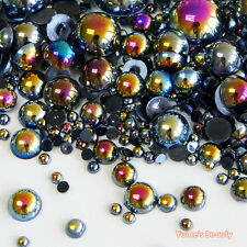610 Fantasy Black AB Mixed 2-10mm Half Pearl Round Flatback Scrapbook Nail Craft