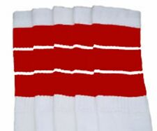"""22"""" KNEE HIGH WHITE tube socks with RED stripes style 5 (22-148)"""