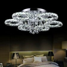 D80cm Modern Clear Crystal Flush Mount LED Chandeliers Ceiling Light Fixture us