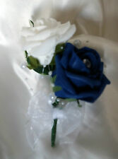 Wedding Flowers Ivory/Navy Roses Crystal Bouquet, Bride/Bridesmaids/Buttonholes