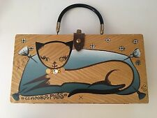 Rare Vintage Enid Collins Texas SIGNED Wooden Cat purse Original box Retro 1962