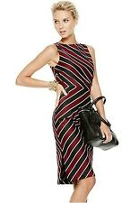 Nwt $70 New York And Company Ruched Side Striped Sheath Dress 12