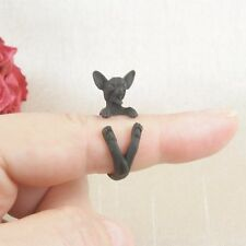 Matt Black Plated Cute Chihuahua Puppy Dog Ring Size N - Adjustable