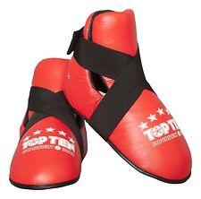 Fußschützer (Kicks) TOP TEN  rot mitEchtlederüberzug. Kickboxen. Pointfighting.