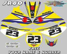 suzuki jr80 autocollant graphique jr 80 kit complet plastifié motocross mx bleu