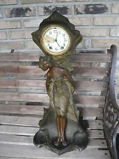 ANTIQUE 1910 RARE SETH THOMAS HEAVY METAL CLOCK LADY DRAGONFLY NOT WORKING TANYA
