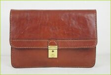 VINTAGE Sac Pochette Main THE LIGHT Cuir Marron Cognac TBE