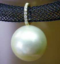 14.8mm!! WHITE SOUTH SEA PEARL +DIAMONDS +18ct YELLOW GOLD PENDANT ENHANCER+CERT