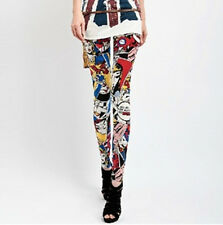 MULTICOLOR ABSTRACT AZTEC print leggings pants THICK polyester M GREAT