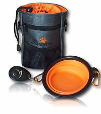 Dog Treat Bag Pouch Doggie Walking Training Bag Strap Clicker Water Bowl Set