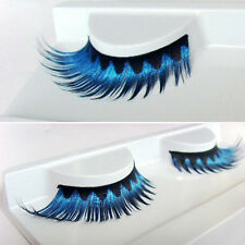 1 Pair Long Thick Blue False Eyelashes Cosplay Fake Eye Lashes