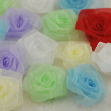 20pcs organza ribbon flowers rose wedding decorations craft appliques B70