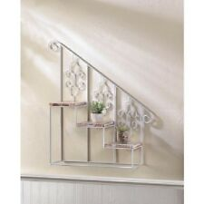 White iron metal shabby wood stair wall hanging plant stand curio display shelf