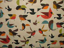 2m Scandinavian Happy Bird Digital Printed Designer Curtain Upholstery Fabric