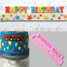 3D HAPPY BIRTHDAY letters Silicone Cake Mold DIY Bread Tool Soap Chocolate Mould
