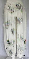 END OF SEASON SALE SARAH SANTOS PALAZZO TROUSERS Ivory paint brush splash SZ S/M