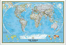 WORLD Map Wall Poster National Geographic Classic - Rolled Laminated