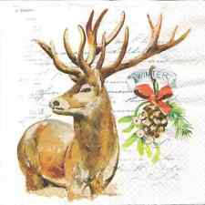 4 Single Paper Table Napkins for Decoupage Winter Stag Christmas