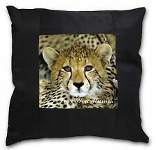 Baby Cheetah 'Love You Mum' Black Border Satin Scatter Cushion Chr, AT-18lym-CSB