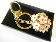 Pink Flowers Round Bouquet Metal Keyring Gold Finish Key Chain Gift Boxed NEW