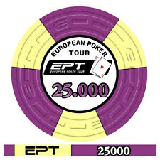 Blister da 25 fiches poker EPT Replica 2007 Ceramica Valore 25000 Bordo Allineat