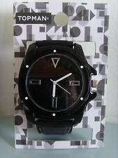 Topman Mens Boys Black Silicone Strap Watch Wristwatch New