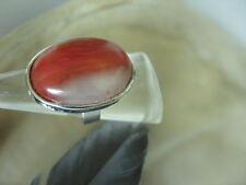 Edler ovaler Mode Ring roter Achat Cabochon Fingerring verstellbar 17-20 mm