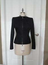 ALEXANDER McQUEEN 2003 BLACK Fitted JACKET Patent LEATHER Trim Size 44 ITALY