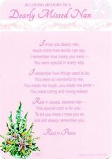 Graveside Memorial Tribute Remembrance Card- Dearly Missed Nan (XP50)