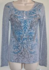 NWT CUTE & SEXY Gray Light Weight WING GLITTER Graphic HENLEY Deal Flash Size S