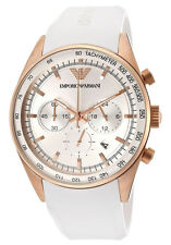 Emporio Armani AR5979 White Rose Gold Rubber Leather Chrono Mens Watch Nuevo