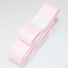 "Pink 3yds 5/8""(15 mm)Christmas Ribbon Printed lovely Dots Grosgrain"