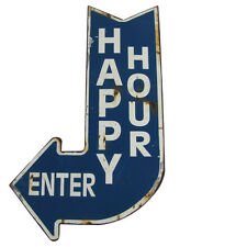Big HAPPY HOUR ENTER Curved Arrow Vintage Metal Sign Man Cave/Bar/Pub Wall Decor