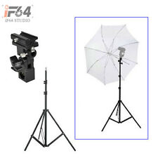 Flash Shoe Umbrella Holder Swivel Light Stand Bracket B +  220cm light stand