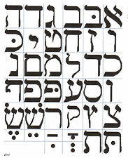 HEBREW LETTERING or ALPHABET CHART CROSS STITCH PATTERN counted