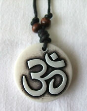 Resin Antique Bone Style Om on Cord Necklace - Hippy Boho Yoga Peace Yin Yang