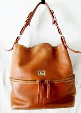 DOONEY & BOURKE Pebbled Leather Satchel Hobo Shoulder Bag BROWN Boho L