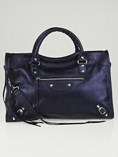 100% Auth BNWT BALENCIAGA Classic City Bag Lambskin Leather Metallic Marine
