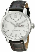 T0554301601700 Tissot PRC 200 Automatic Men's White Dial Watch Brown Leather new