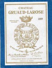 SAINT JULIEN 2E GCC VIEILLE ETIQUETTE CHATEAU GRUAUD LAROSE 1889 RARE §27/09/16§