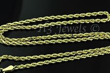 14k solid yellow gold hollow rope chain necklace italian 3.70 grams #2959 24inch